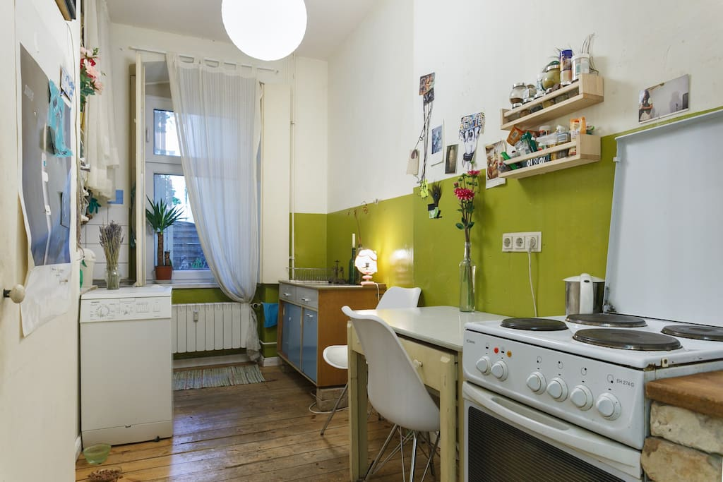 the kitchen  - have a coffee, cook yourself some meal