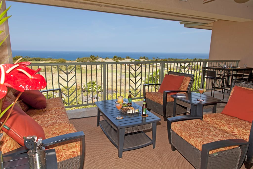 Our lanai with expansive unobstructed ocean and golf course views