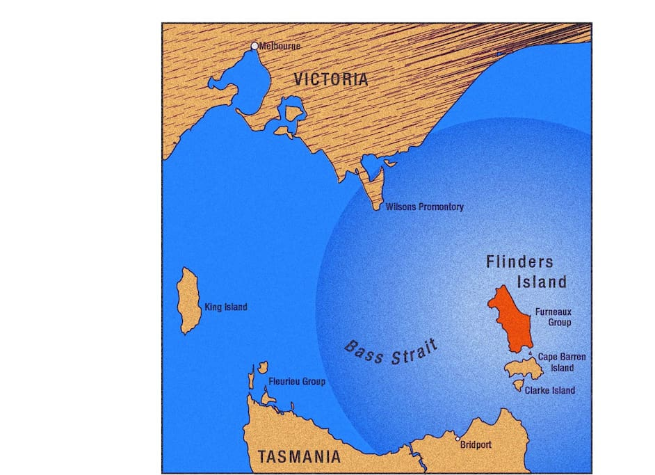 Location of Flinders Island, Tasmania