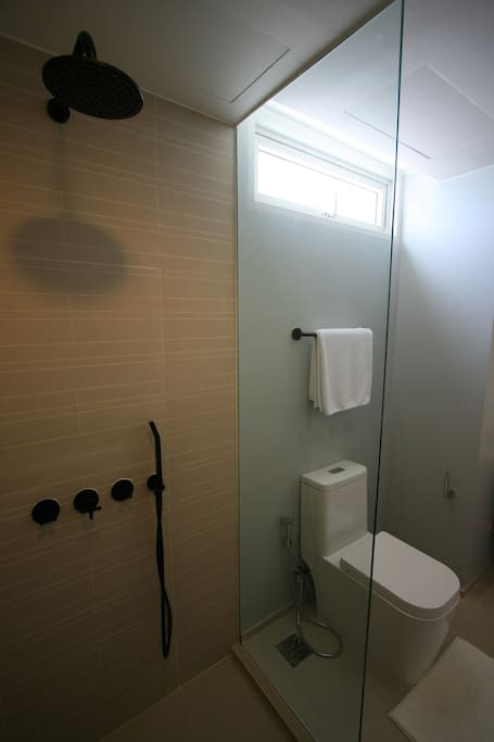 Toilet & shower room with hair dryer