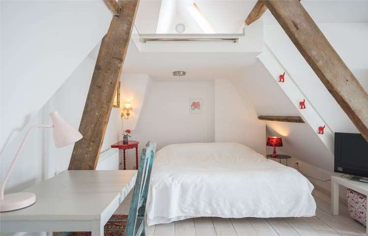 Light attic with lovely roof garden