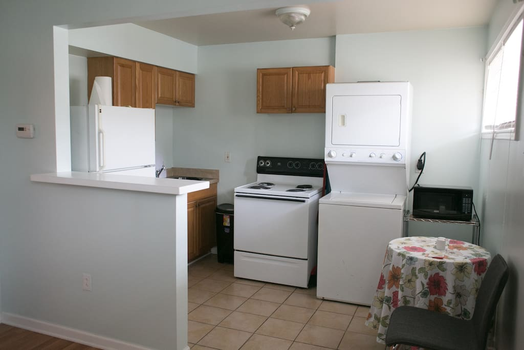 The full kitchen with washer and dryer is to the right!