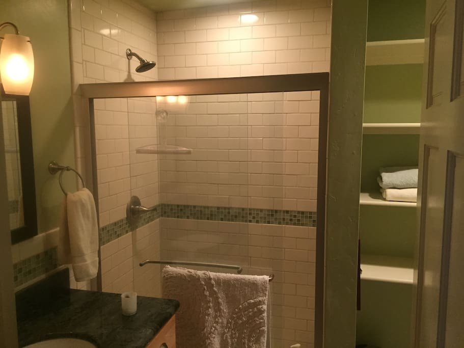 The private bathroom is just a few steps from the bedroom door.