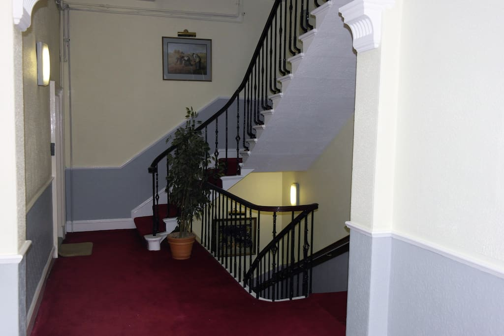 Entrance and stairway to apartment