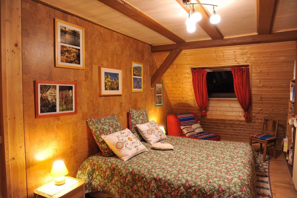 Chambre chaleureuse et spacieuse avec grand lit séparable