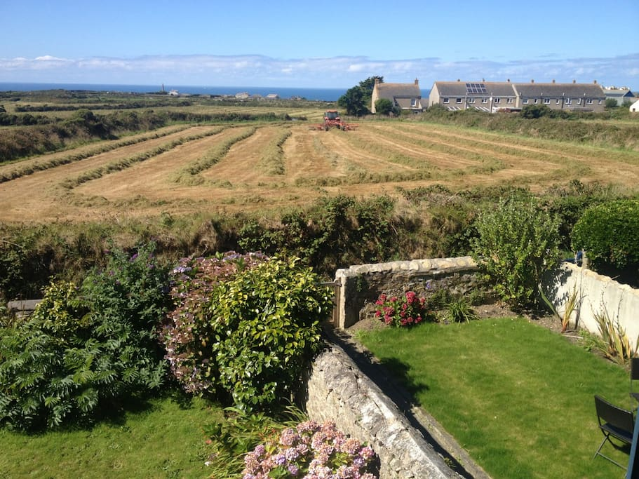 Making hay in field in front of cottage - view from bedroom window