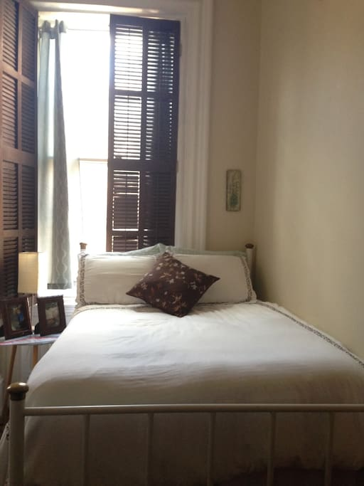 Guest bedroom features a full-sized pillow-top bed with luxury down comforter.