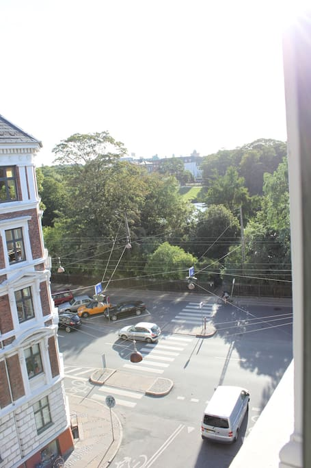 View from the living room. The park is across the street