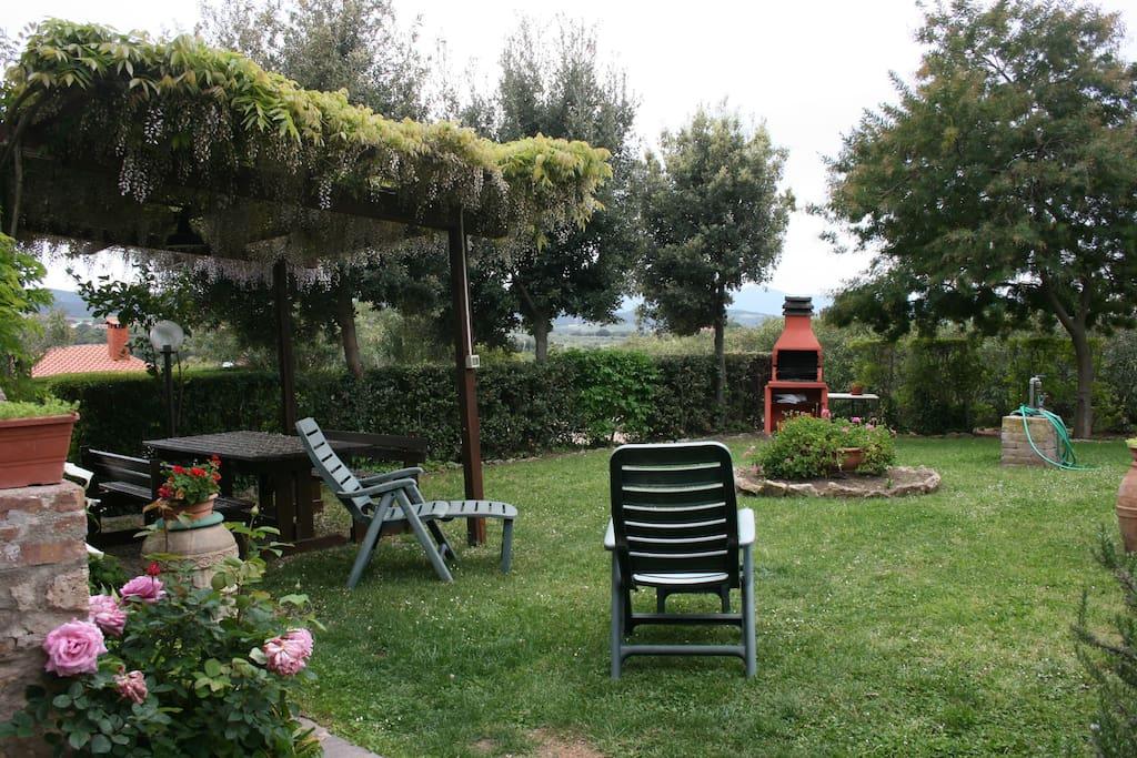 """Il giardino , la pergola e il barbecue ad uso esclusivo del Casaletto """"La Pinetina"""""""