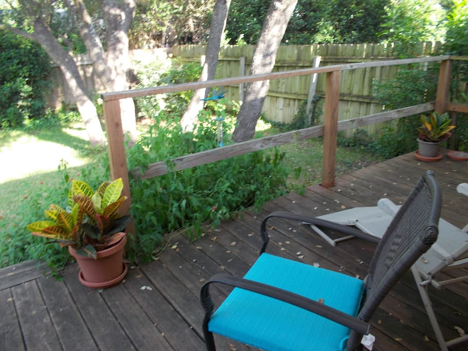 Deck and backyard. Very private. Safe. Fenced.