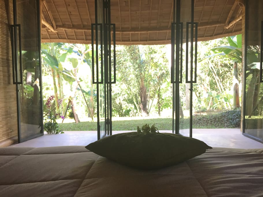 Master bedroom, floor to ceiling glass so you can see straight out to the jungle and river below.
