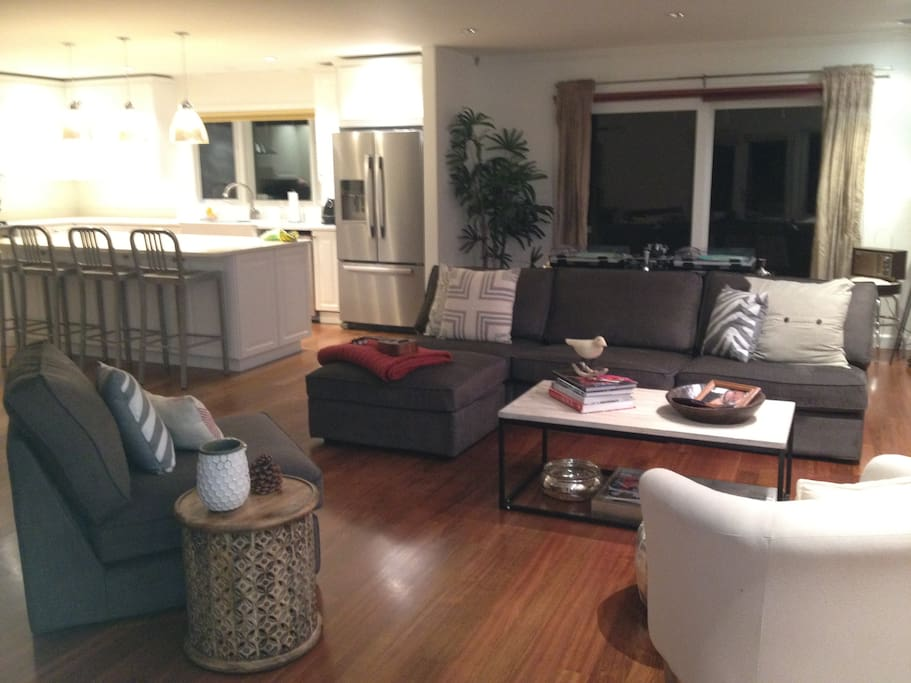 Newly renovated open plan living room and kitchen.