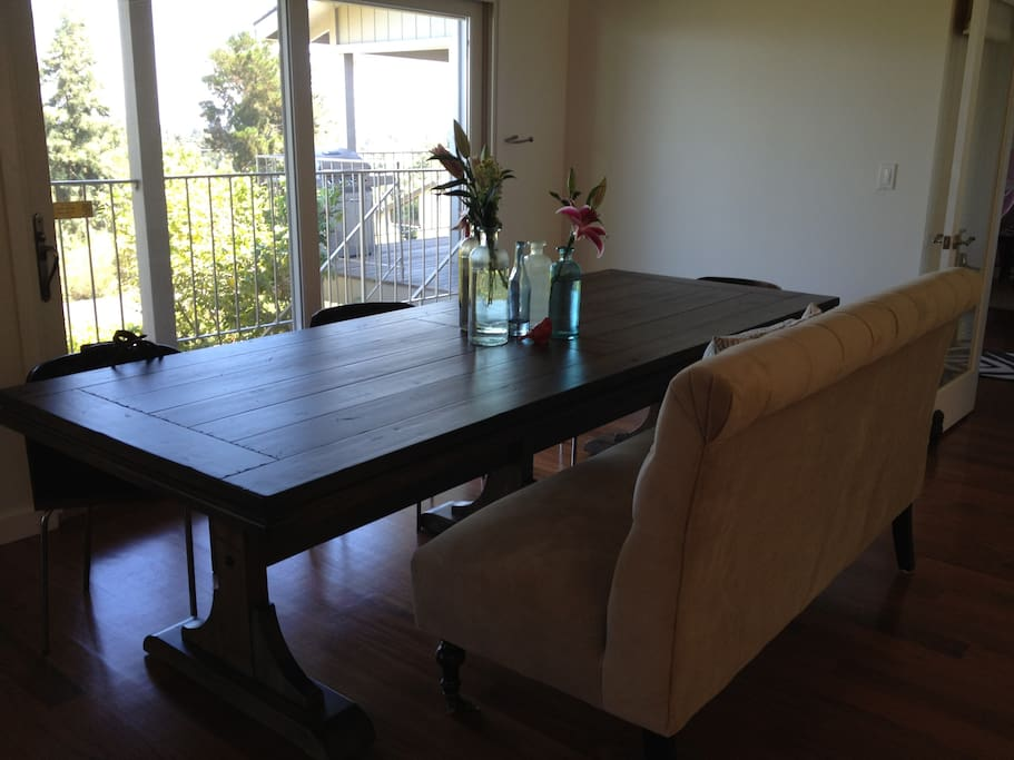 Large dining table seats 12 with a view