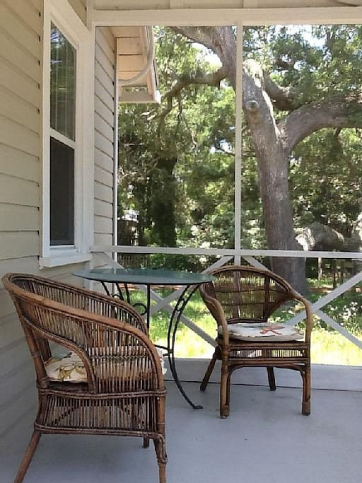 Cozy front porch for enjoying those cool evening breezes.