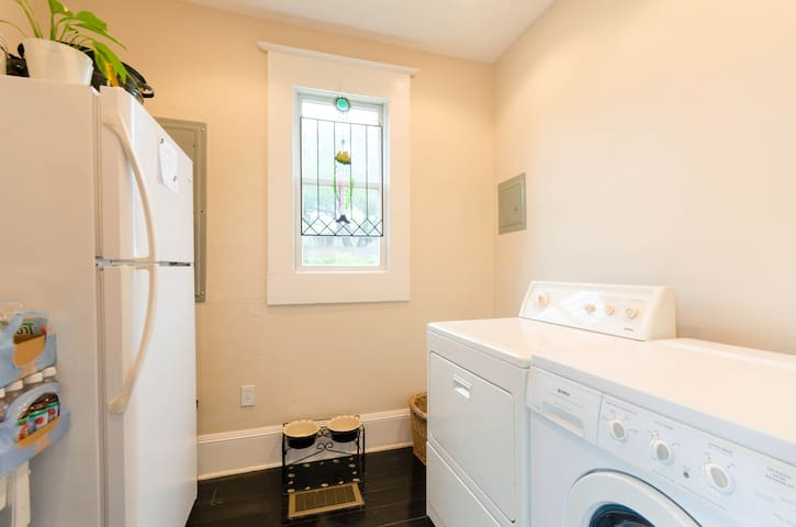 Access to laundry room and full size refrigerator