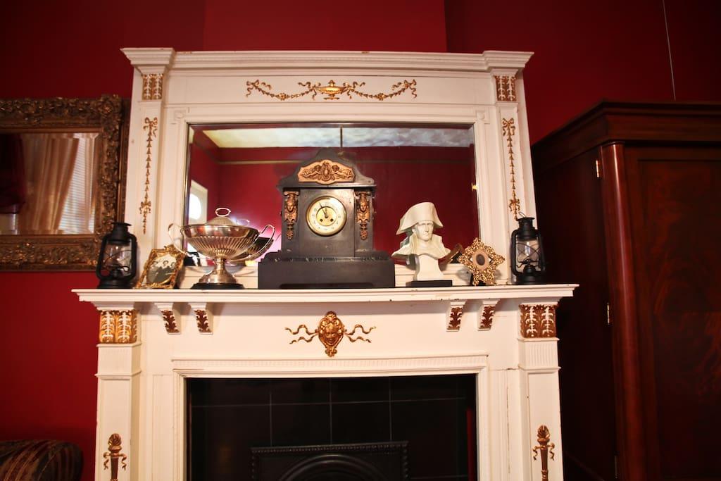 Original Family Antiques, with fireplace from the old house