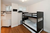 Beds and storage on the left