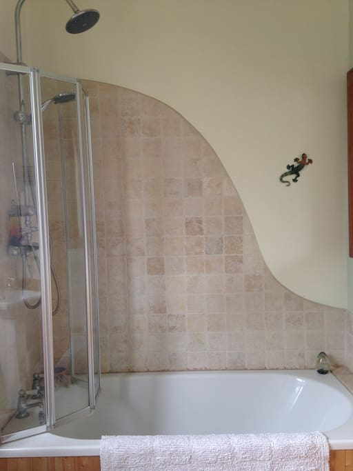 Great shower and bath tub! Instant hot water.