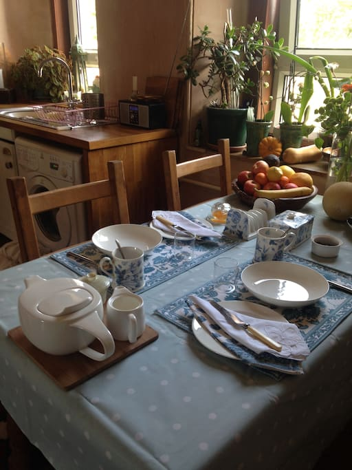 Breakfast table - a variety of cereals and toast.