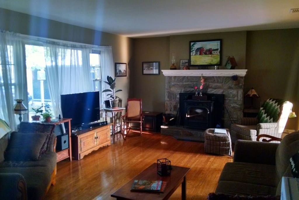 Living room with a TV and fireplace