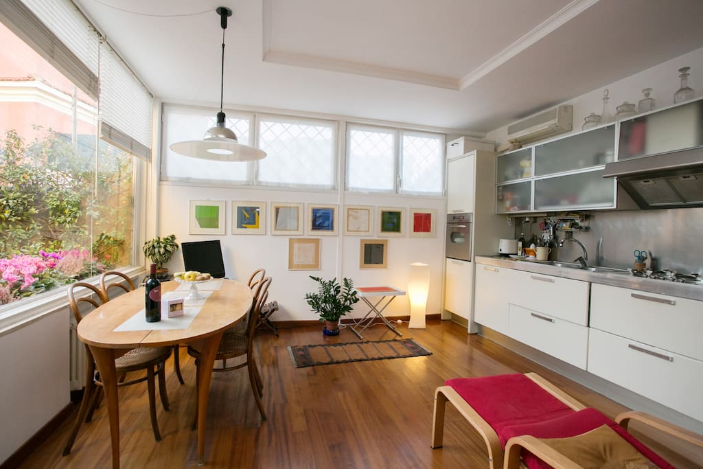 The bright kitchen and dining area