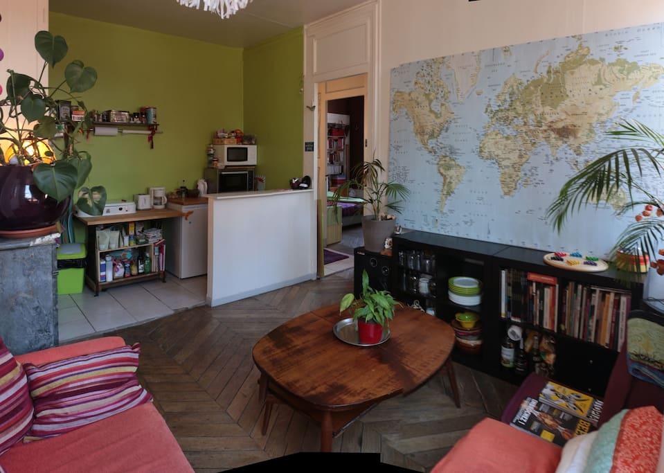 cuisine vue du salon