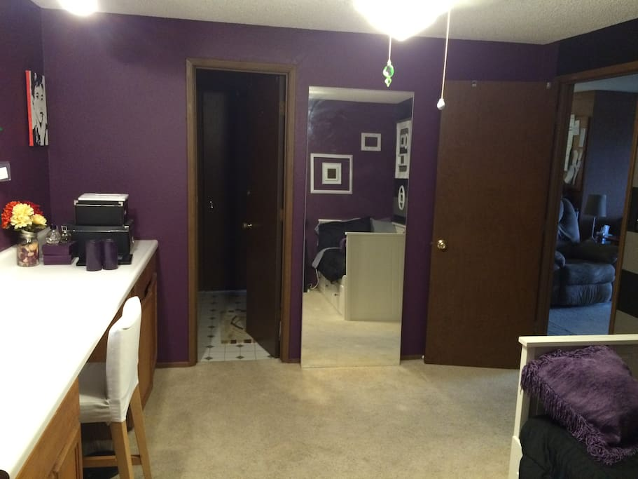View from closet into bathroom