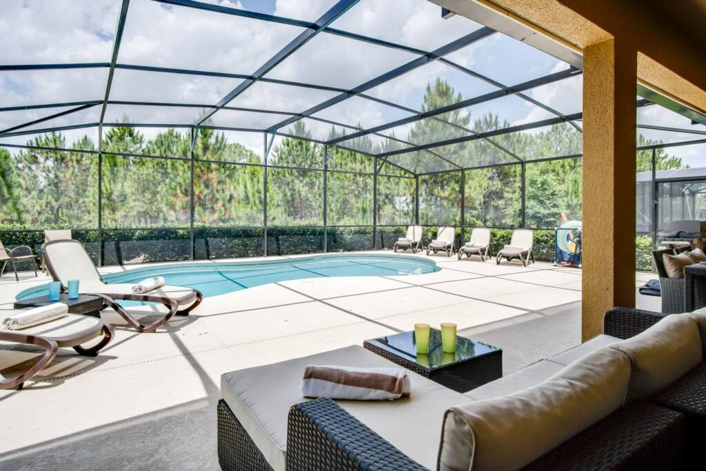 Gorgeous south facing pool! Several lounging options!