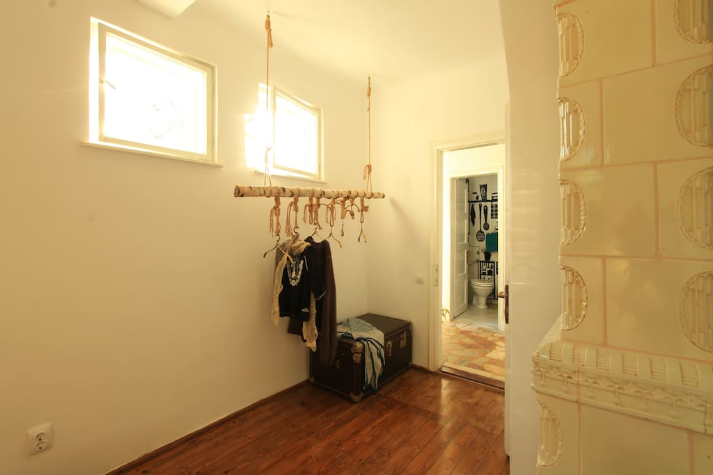 We kept things simple and elegant.The private bathroom is across the hall