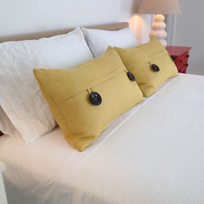 Feather-filled pillows, so comfortable!