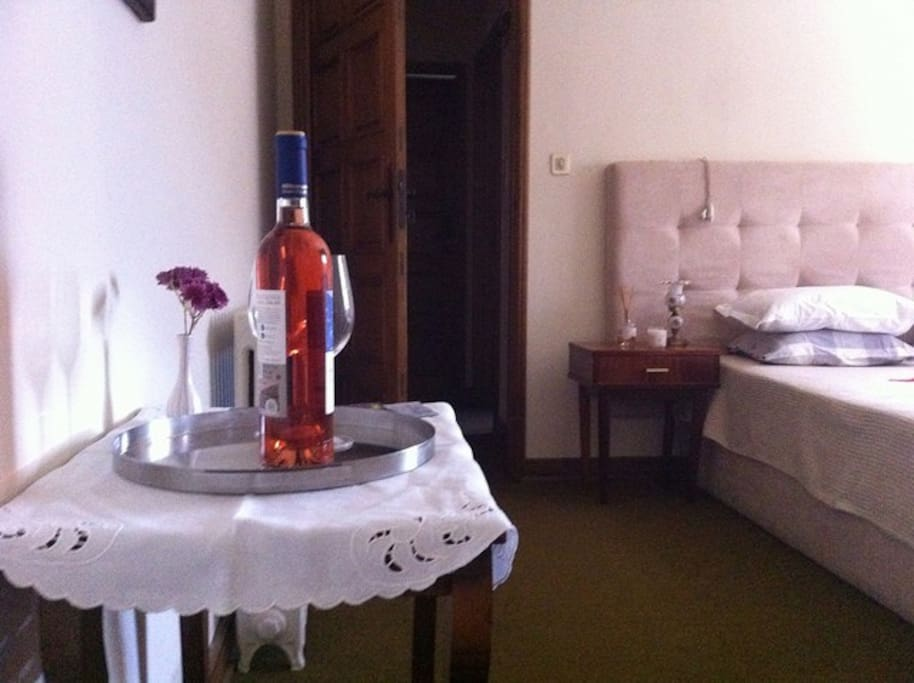 Welcoming wine bottle