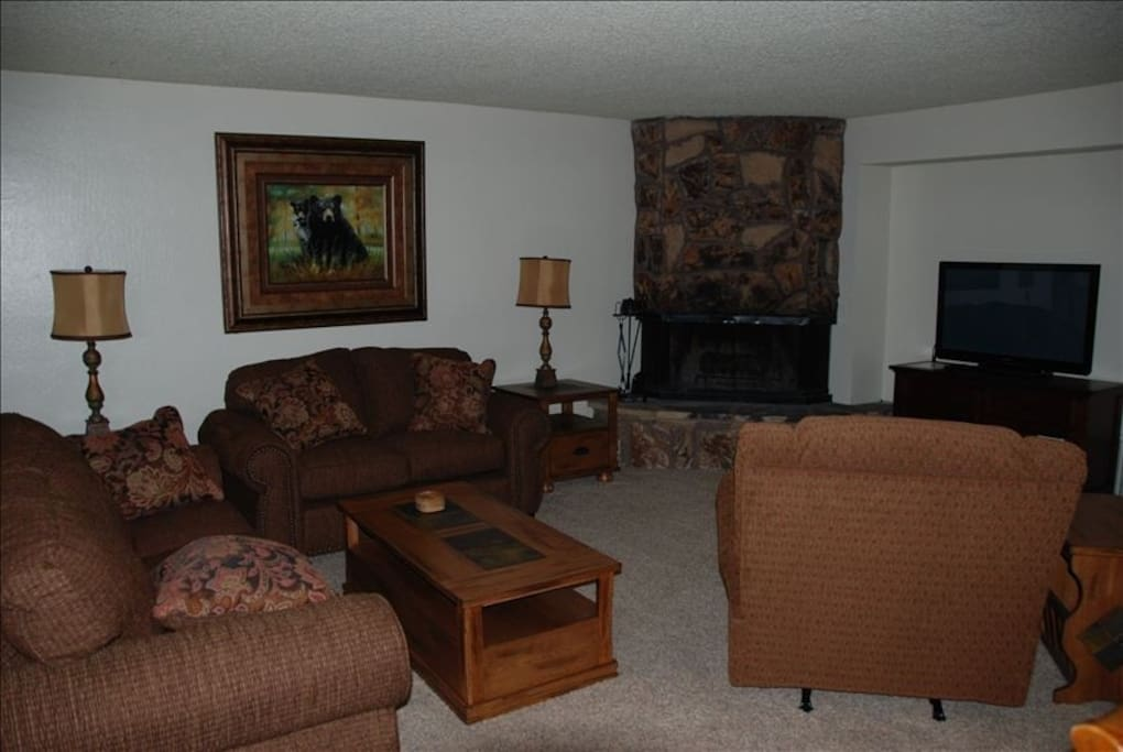 Large living room with awesome fire place
