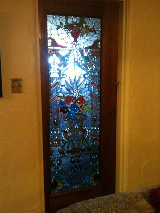 Stained glass door that locks from the inside