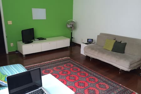 Cozy apartment in a prime location, 2 blocks from the beach. Quiet, light and airy. Bedroom with a king size bed, large living (75m²) with queen size sofa bed and dining table. Bathroom, kitchen and laundry room. Apple TV. Safe area. Easy transport