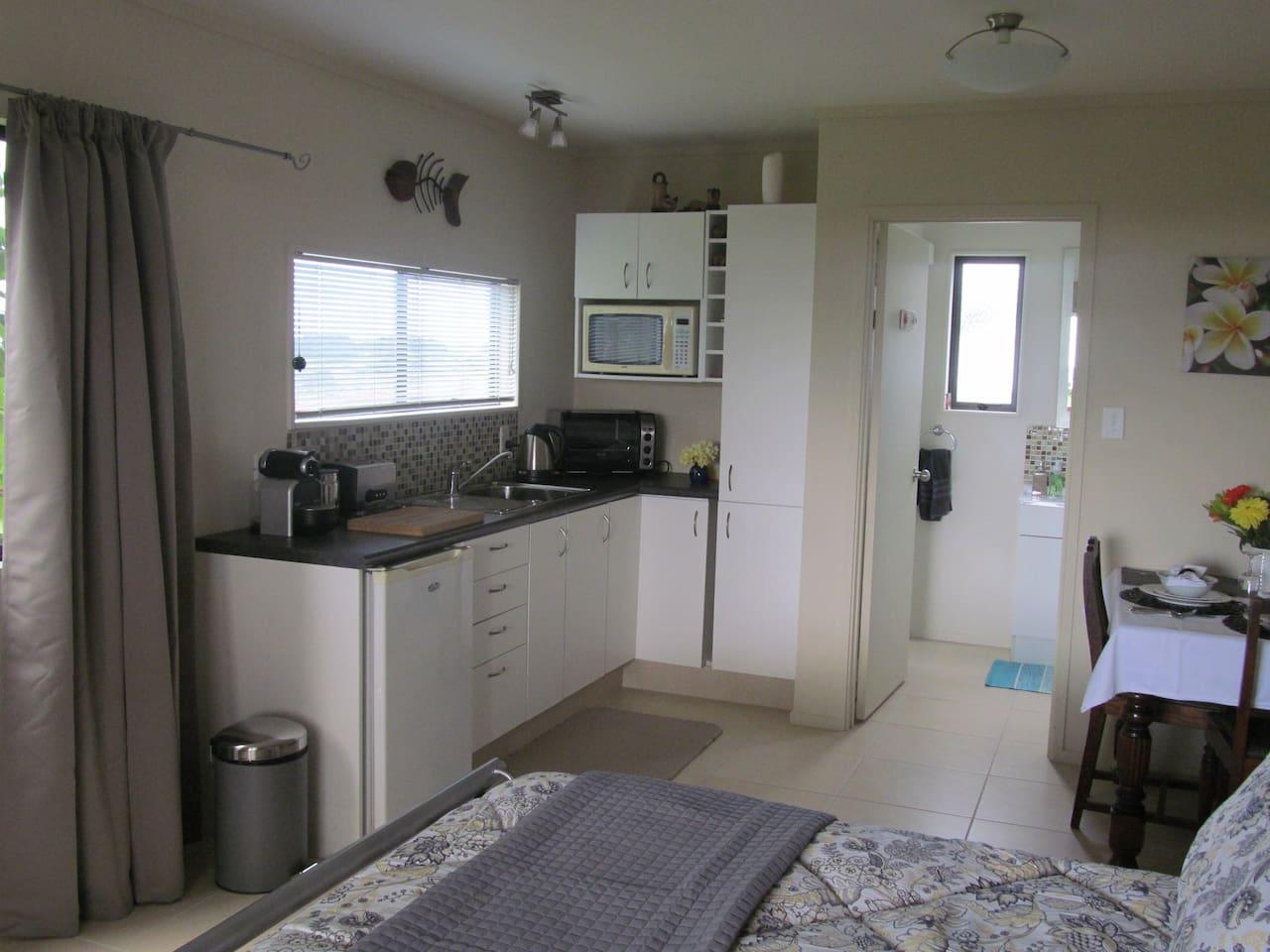 Open plan showing kitchen