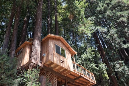 New Redwood Treehouse high in the Redwoods   all Pine interior and oak flooring. Very private retreat for one or two Adult .(Sorry not suited for children.)  Stairs and a short path leads to this beautiful private space. Non Smoking Property  No Pets