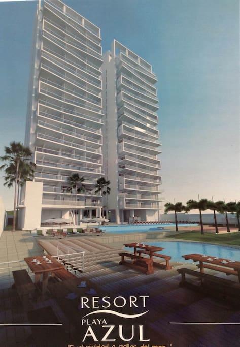 Resort playa azul apartamentos en alquiler en tonsupa for Apartamentos playa azul