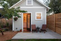 Front patio of the tiny house with private entrance to the right.