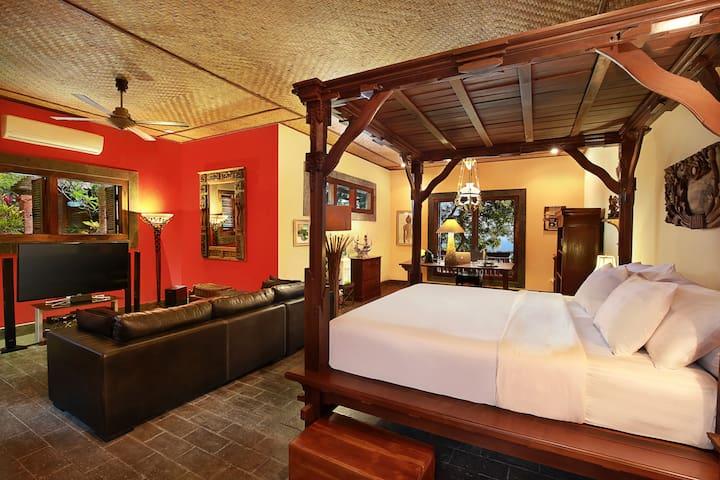 Master bedroom main villa. King size bed