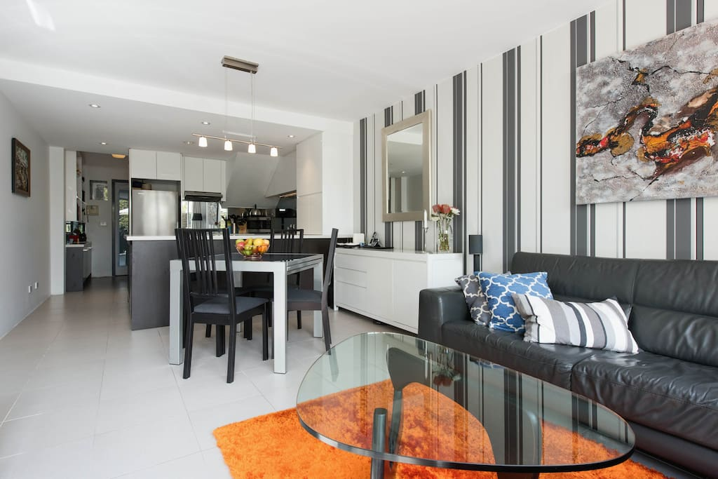 Open Plan Living, Dining with Modern Kitchen