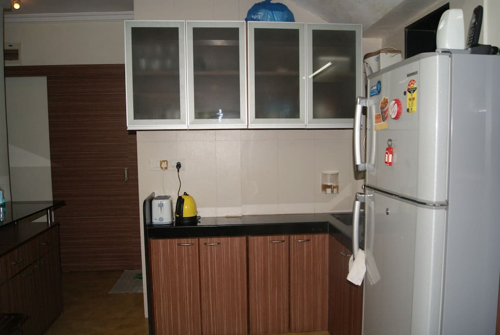Microwave, toaster, hot plate , water purifier and fridge.