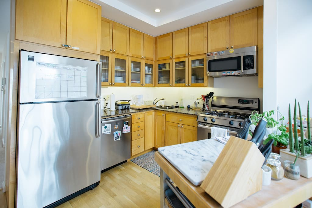 Our large, modern kitchen offers everything you need to cook while you're here.