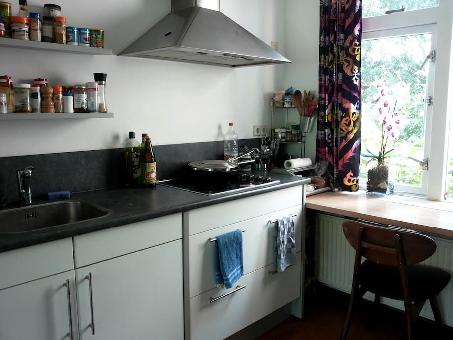 Kitchen can be used to cook. Microwave available. Place outside and in the fridge to store your food and drinks.