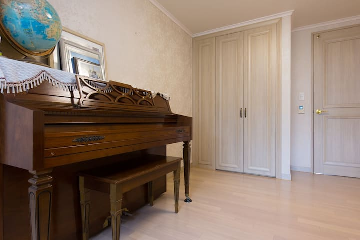 Room furnished with wardrobe