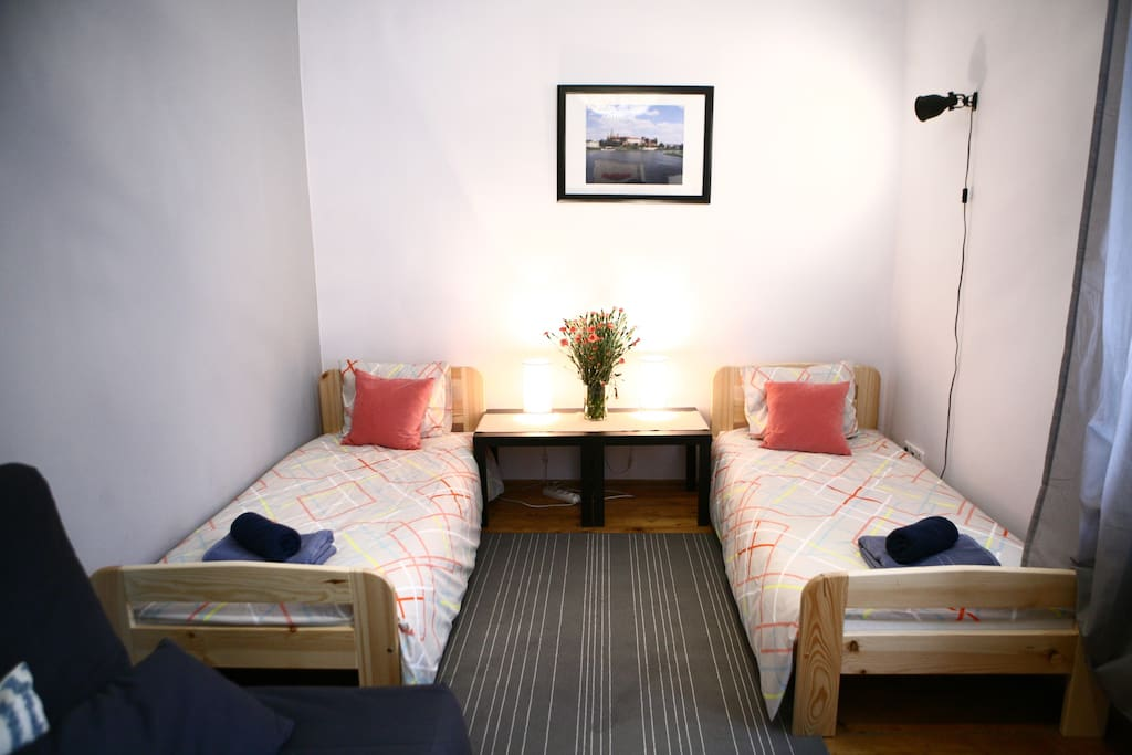 1 st apart with 2 single beds and sofa bed.
