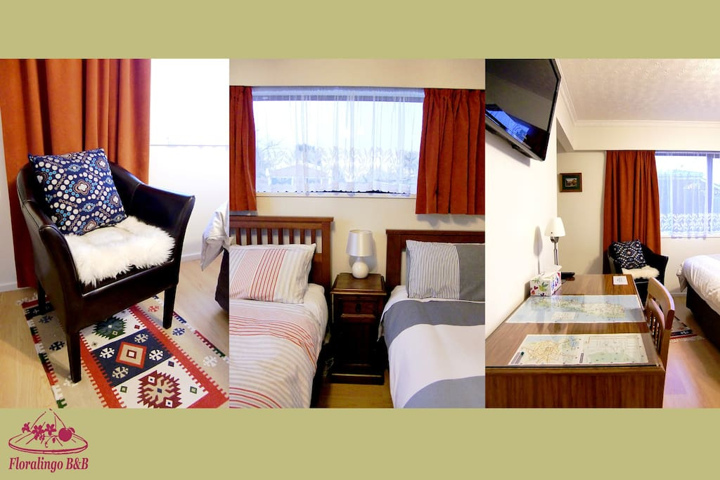 Room 3 --- 1 x Queen bed & 1 x Single bed, with a writing desk and a cute arm chair
