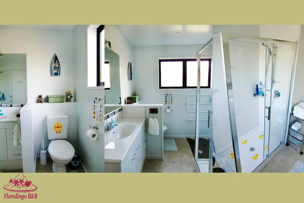 NEW!! Ensuite Bathroom that is recently renovated with a brand new shower + vanity + toilet, to be used by guests of Room 3