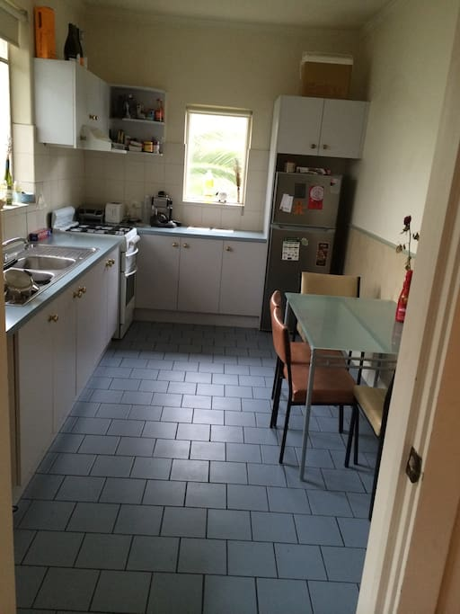 Large fully equipped kitchen with gas stove, large fridge, utilities,pots, pans, frying pans, cutlery, crockery, and glass ware. Microwave, toaster, juicer and  coffee machine.
