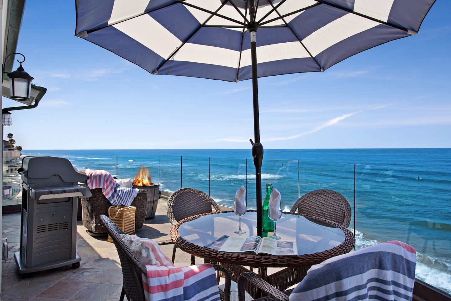 Private Oceanfront Patio Featuring BBQ and Spa
