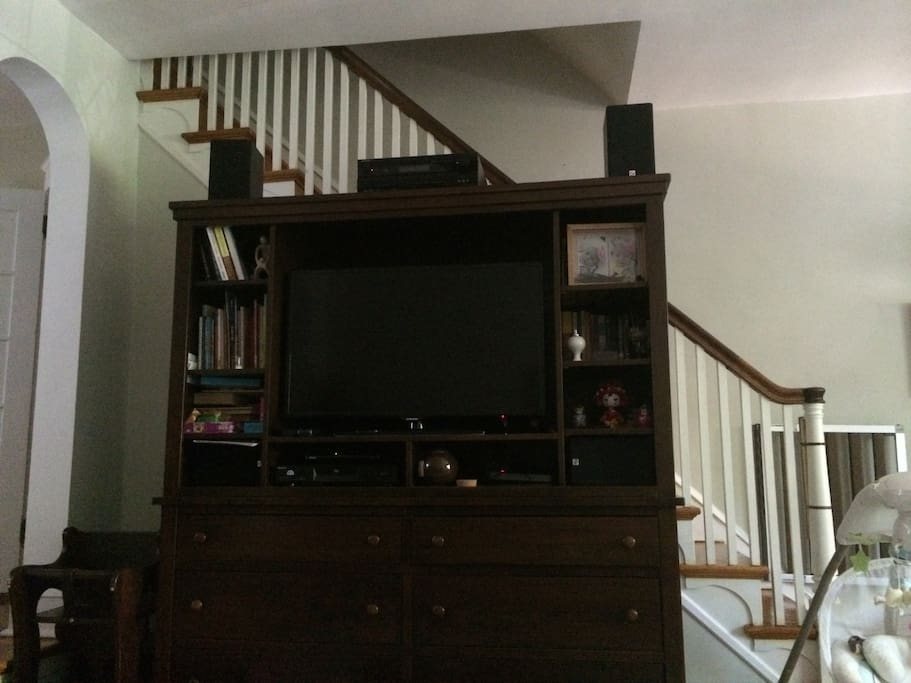 TV, DVD player available.  Local (broadcast) cable channels only.  Sorry no ESPN or HBO!